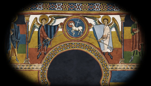 Un fragment dels frescos projectats a la ubicació original.