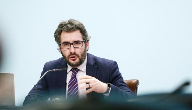 El ministre d'Educació, Eric Jover, durant la roda de premsa del consell de ministres.