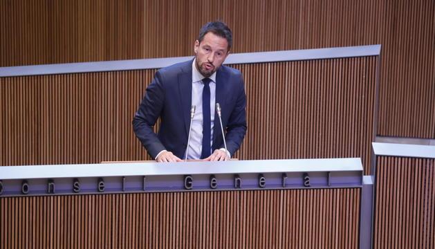 Pere López durant una sessió del Consell General.
