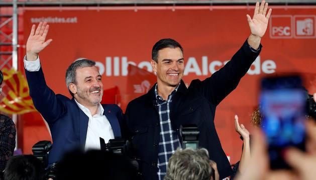 Jaume Collboni amb Pedro Sánchez a Barcelona.