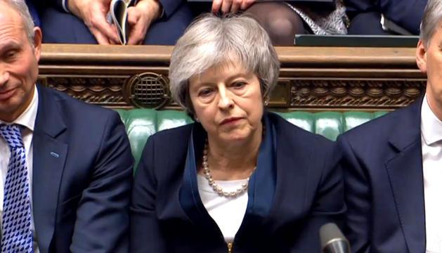Theresa May, ahir durant el debat de la moció de censura al Parlament britànic.