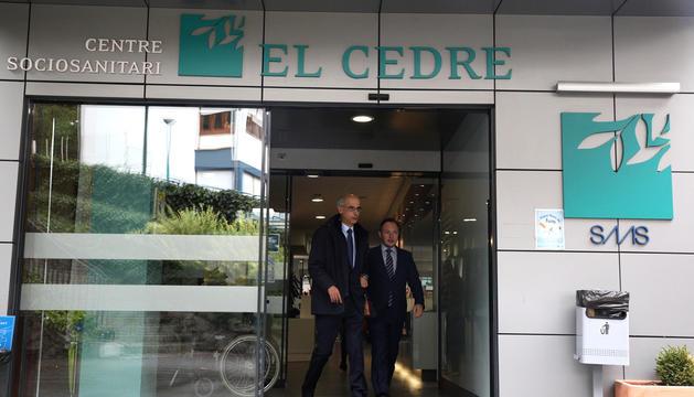 El cap de Govern, Toni Martí, i el ministre d'Afers Socials, Xavier Espot, al Cedre.