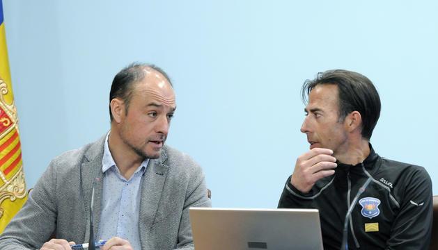 Miquel Rossell i Ferran Teixidó, durant la roda de premsa de presentació del balanç