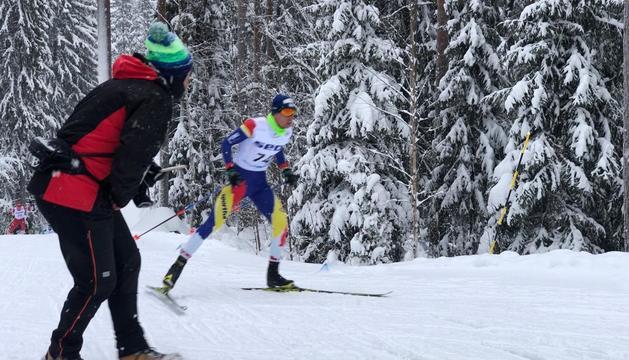 L'esquiador andorrà durant la prova d'aquest matí