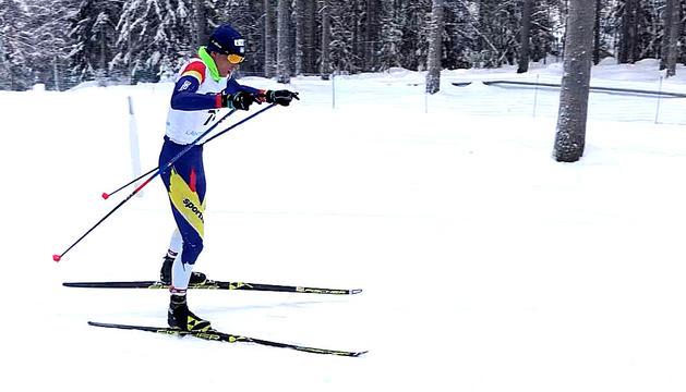 Irineu Esteve durant la cursa disputada ahir a Finlàndia.