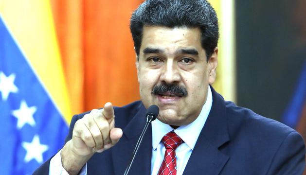 Nicolás Maduro, ahir durant la seva compareixença davant els mitjans de comunicació.
