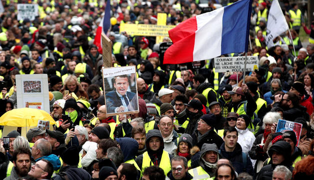Els ArmillesGrogues es van manifestar ahir a París.