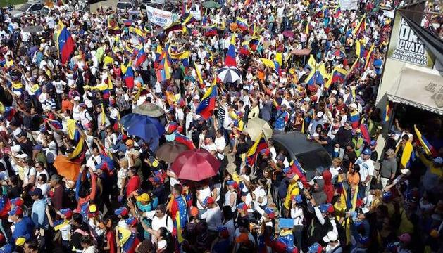 Manifestació a favor de Juan Guaidó.
