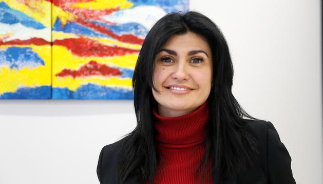 La consellera general d'UL-ILM, Carine Montaner, al despatx del Consell General.