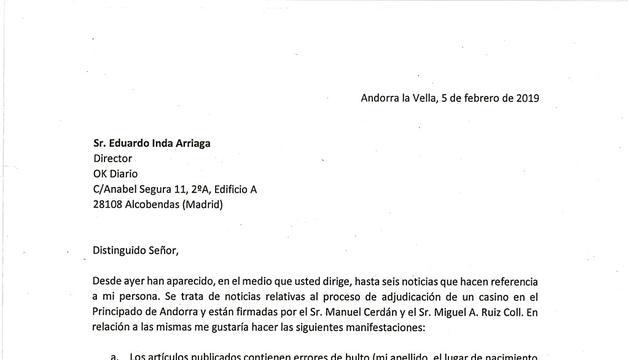 Escrit enviat per Mercè Viñolas a Eduardo Inda en què garanteix que les paraules que li imputen són falses i on demana que rectifiqui o emprendrà accions judicials.
