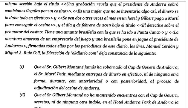 Extracte de la carta que Gilbert Montané ha enviat a Eduardo Inda on l'insta que rectifiqui l'acusació de suborn a Toni Martí o es reserva les accions legals pertinents.