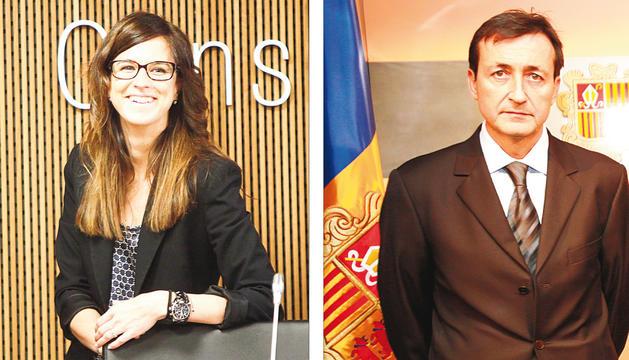 Sílvia Riva, en l'etapa de consellera demòcrata, i Enric Tarrado, en el jurament com a ambaixador.