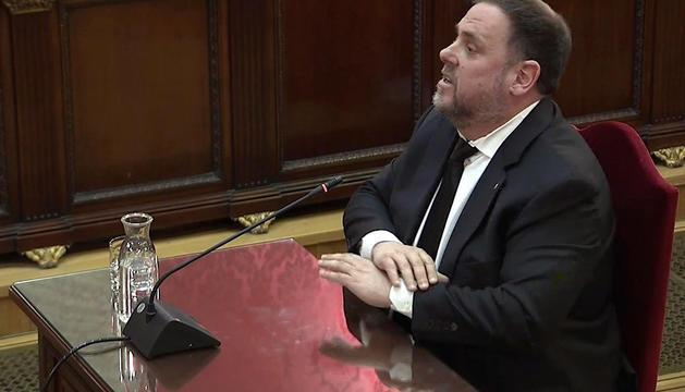 Oriol Junqueras, ahir durant la declaració.