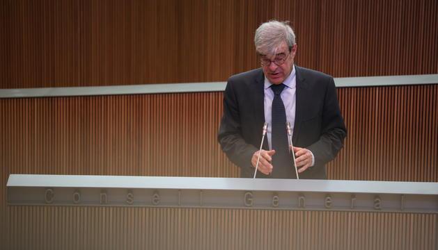 Ladislau Baró durant la intervenció avui al Consell General