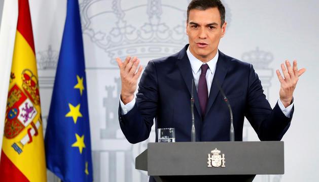 Pedro Sánchez, ahir durant l'anunci de la data electoral, al Palau de la Moncloa.
