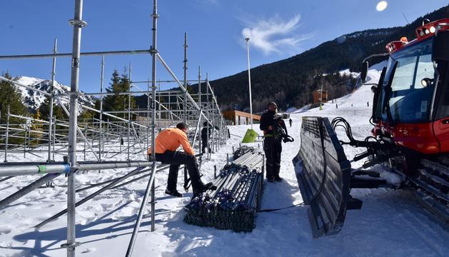 Grandvalira comença la instal·lació de les grades de les Finals de la Copa del Món Andorra 2019