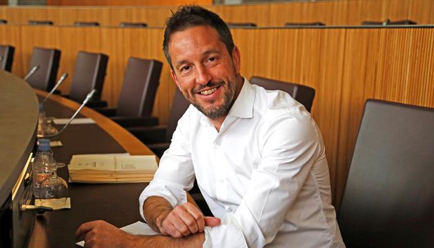 El conseller general del PS, Pere López, al Consell General.