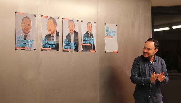 Xavier Espot durant la presentació del cartell i el lema electoral