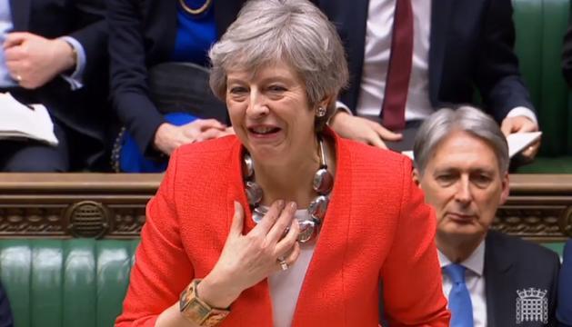 Theresa May, durant la sessió d'ahir al Parlament Britànic.