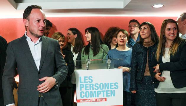 Xavier Espot, durant la nit electoral, després dels discurs a la militància de DA.