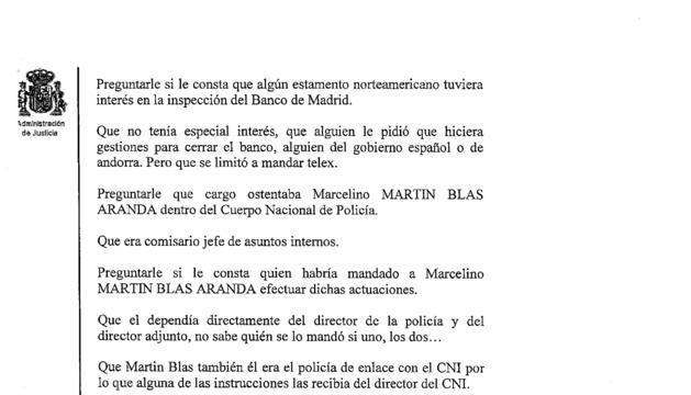 Extracte d ela declaració de Villarejo al jutjat d'Arganda del Rey on va respondre les preguntes que li va trametre la batllia que investiga les coaccions pel 'cas Pujol'.