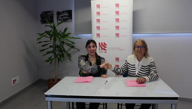 La directora d'Andorra Lírica, Jonaina Salvador, i la presidenta de l'EENSM, Maria Pilar Díez
