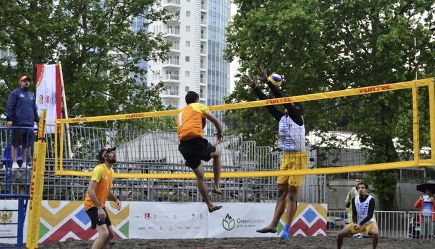 Folguera i Bernal durant un partit dels Jocs.
