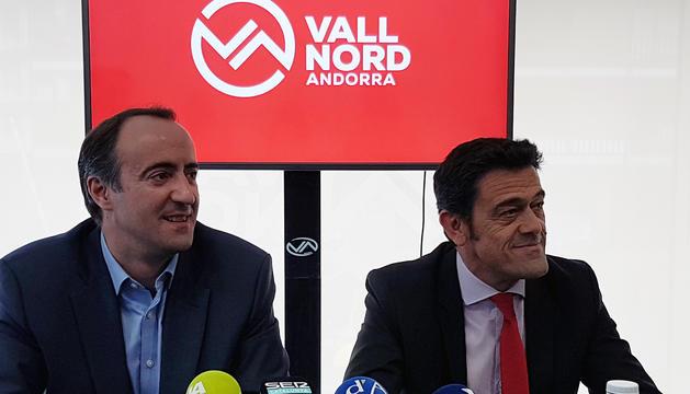 David Baró i Josep Àngle Mortés durant la roda de premsa celebrada aquesta tarda a les oficines de Vallnord