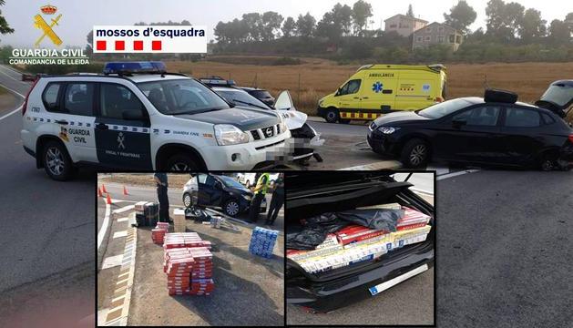 Els cotxes accidentats i la mercaderia comissada.