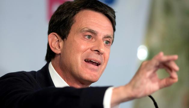 Manuel Valls, dissabte a l'ajuntament de Barcelona.