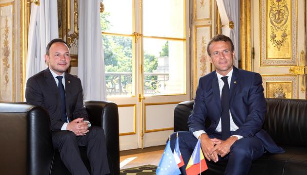 Xavier Espot i Emmanuel Macron es van trobar ahir al Palau de l'Elisi.