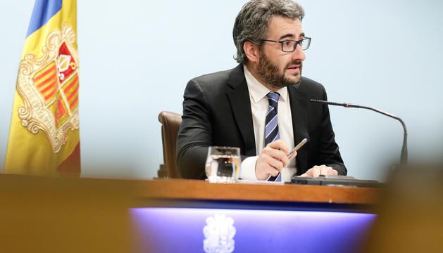 El portaveu del Govern, Eric Jover, en roda de premsa.