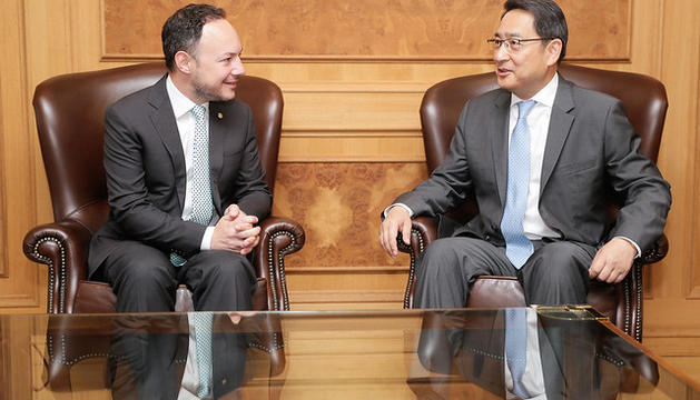 Reunió entre el cap de Govern, Xavier Espot, i l'ambaixador de la República Popular de Xina, Lyu Fan