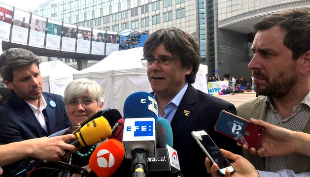 Carles Puigdemont durant una compareixença davant la premsa.