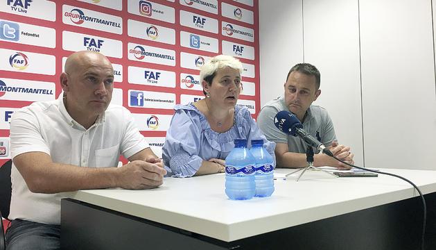 Martín, Pirot i Marsenyach a la roda de premsa d'ahir.