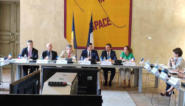 Els ministres Jordi Gallardo, Jordi Torres i Silvia Calvó, en la trobada d'aquest matí.