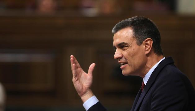 Pedro Sánchez, ahir durant el discurs d'investidura al Congrés dels Diputats.