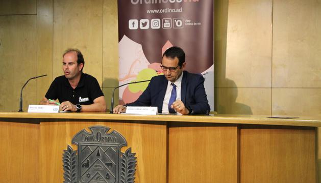 Pau Iglesias i Jordi Serracanta ahir, a la presentació.