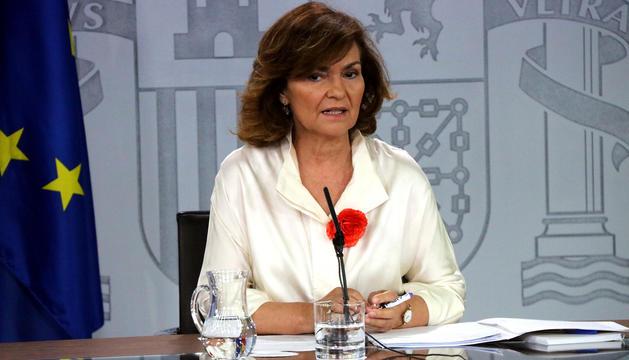 La vicepresidenta espanyola en funcions, Carmen Calvo, ahir.