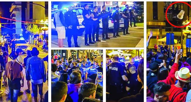 Diferents imatges dels incidents en què joves es van enfrontar a membres del cos de policia la nit de diumenge a dilluns.