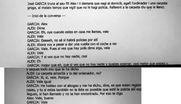Tres fotografies fetes al sumari reprodueixen la conversa entre García i el seu fill Àlex. Com que les imatges es van fer ràpidament hi ha un tros incomplet en una pàgina.