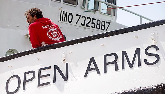 Òscar Camps en el vaixell Open Arms.