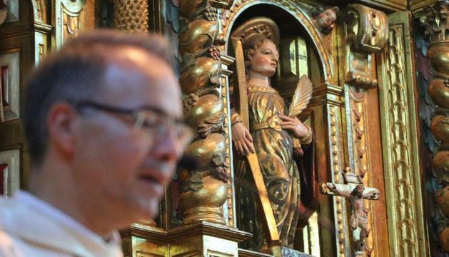 Un moment de la missa a l'església de Santa Eulàlia