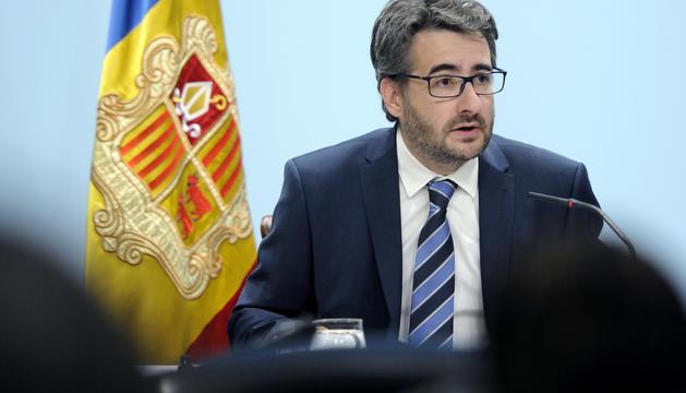 El ministre de Finances i portaveu, Eric Jover, durant la roda de premsa posterior al Consell de ministres