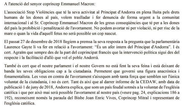Part de l'escrit d'Stop Violències al Copríncep francès, Emmanuel Macron.