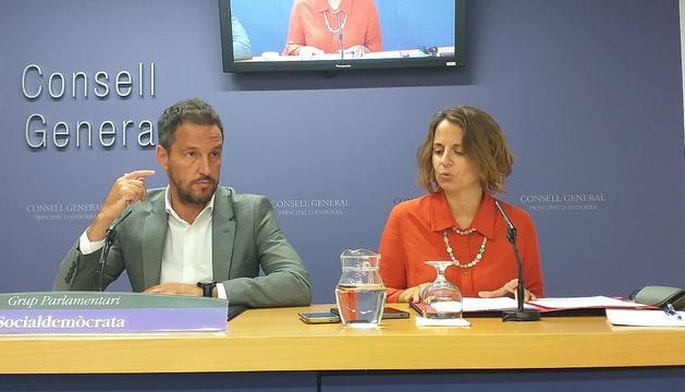 Els representats del Grup parlamentari socialdemòcrata, Pere López i Rosa Gili