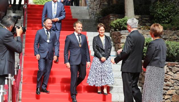Macron a l'arribada a Casa de la Vall