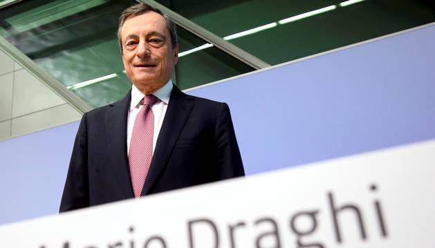 Mario Draghi, ahir durant la roda de premsa al BCE.