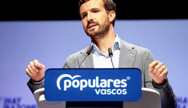 Casado durant la clausura de la convenció del PP basc.