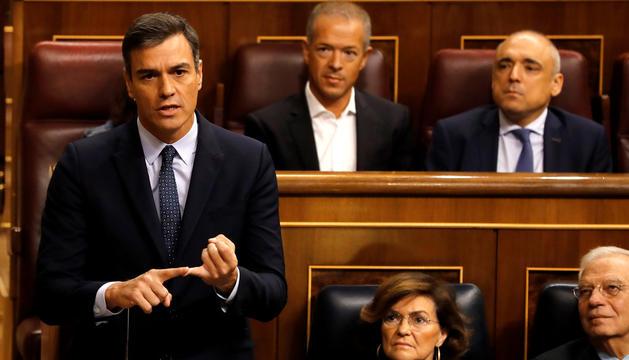 Pedro Sánchez, durant una intervenció ahir al Congrés.